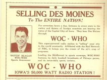 """Dutch"" Reagan in ad for WOC-WHO. circa 1933."